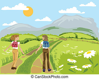 hiking - hand drawn vector illustration in eps format of two...