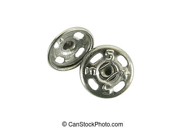 Snap Fasterer - Close up of snap fastener, isolated on white...