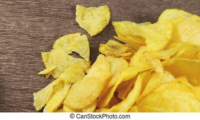 Potato Chips on the Table Rotating
