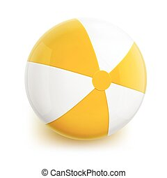 Beach Ball with Yellow Stripes Isolated Illustration on...