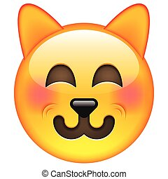 Funny Cat Emoticon Isolated Vector Illustration on White...
