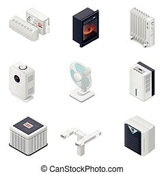 Home climate equipment isometric icon set, heating, cooling,...