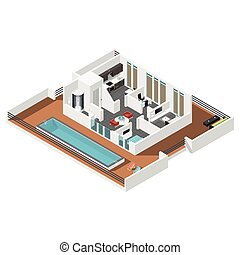 Penthouse apartment isometric icon set vector graphic...