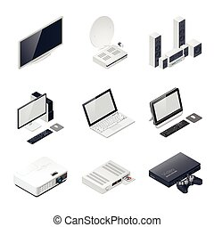 Home entertainment devices isometric icon vector graphic...