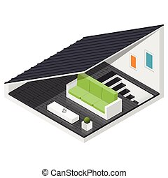 Attic of a private house isometric icon set vector graphic...