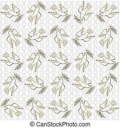 Peaceful conceptual large pattern - Large golden dove of...