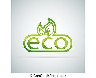 Eco logo vector on a gray background