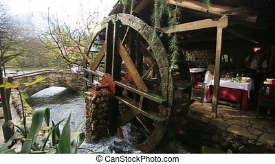 Old vintage mill in the cafe in Montenegro Budva