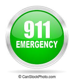 number emergency 911 green modern design web glossy icon