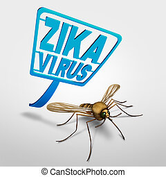 Zika Virus control - Zika virus control and risk symbol as a...