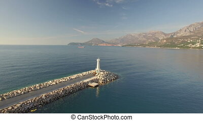 Aerial view of lighthouse in port of Bar city, Montenegro