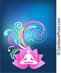 Blue yoga background with lotus and splash pattern
