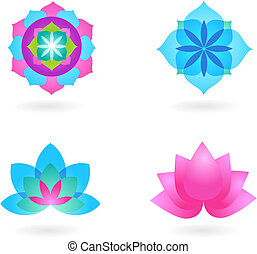 Yoga background set - Four abstract yoga backgrounds