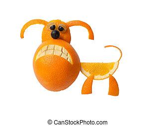 lustiges, buldog, gemacht, von, orange, auf, Freigestellt,...