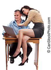 Office flirting - Office flirt with boss and secretary,...