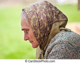Old woman with kerchief - Old peasant woman with kerchief...