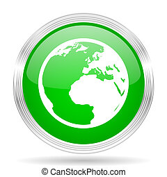 teia, modernos, desenho, lustroso, terra, verde, ícone