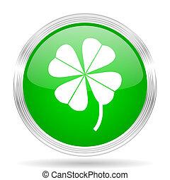 four-leaf clover green modern design web glossy icon
