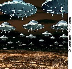 Alien Invasion - Alien invasion concept as a menacing group...