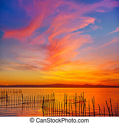 La Albufera lake sunset in El Saler of Valencia