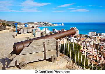 Cullera Cannon in the Castle top with aerial skyline in...