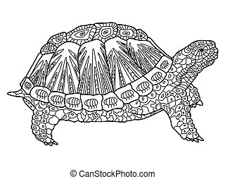 Turtle coloring book for adults vector illustration....