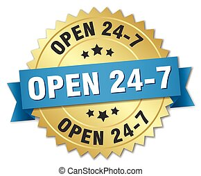 open 24 7 3d gold badge with blue ribbon