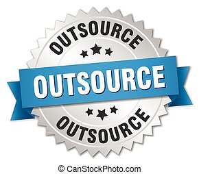 outsource 3d silver badge with blue ribbon