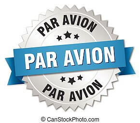par avion 3d silver badge with blue ribbon