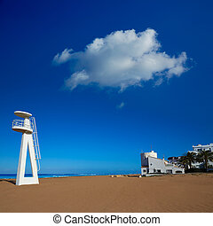 Denia beach Las Marinas baywatch tower in El Moli Alicante...