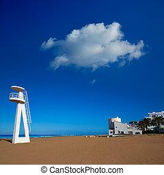 Denia beach Las Marinas baywatch tower in El Moli Alicante...