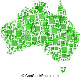 Map of Australia - The figure is composed of a mesh of...