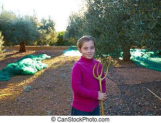 azeitonas, agricultor, colheita, colheita, menina, criança