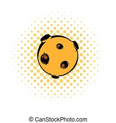 Moon icon, comics style - Moon icon in comics style on a...
