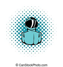 Astronaut in spacesuit icon, comics style - Astronaut in...