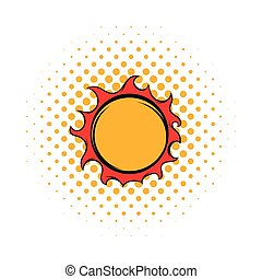 Shiny sun icon, comics style - Shiny sun icon in comics...