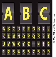 vector alphabet of black mechanical panel