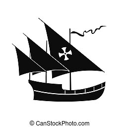 Santa Maria sailing ship icon, simple style - Santa Maria...