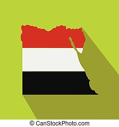 Map of Egypt with the image of the national flag
