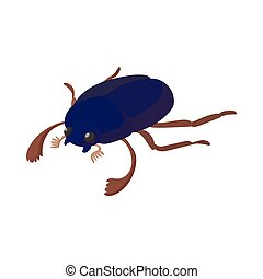 Scarab icon, cartoon style - Scarab icon in cartoon style on...