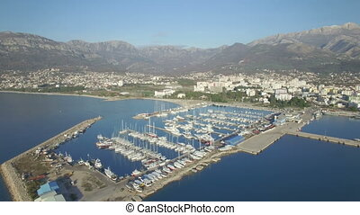 Aerial view of port in Bar city, Montenegro.