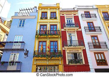 Valencia downtown facades near Mercado central market at...