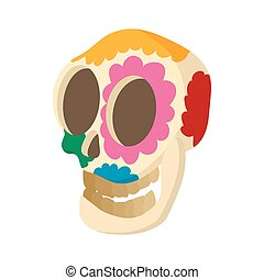 Skull with floral ornament icon, cartoon style