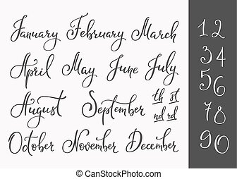 Vector Lettering months names set