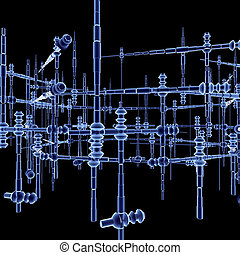 installation - abstract construction on black background -...