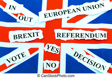Brexit UK EU referendum concept with flags and topical...