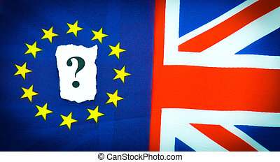 Brexit UK EU referndum concept with flags and topical...