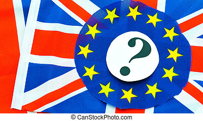 UK EU referendum concept with flags and topical message