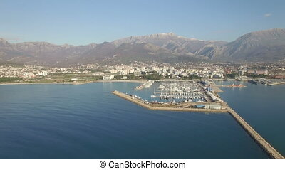Aerial view of port in Bar city, Montenegro