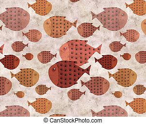ethnic fish background - ethnic fish illustration background
